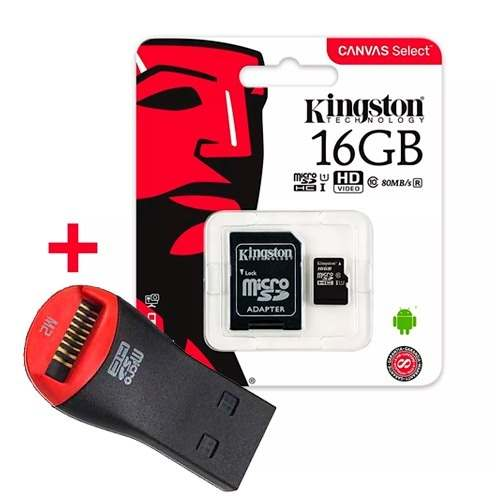 Memoria Micro Sd Kingston 16gb Canvas C10 80 M/s + Pendrive