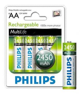 Pilas Recargables Philips Aa Pack X 4 2450 Mah Super Oferta!