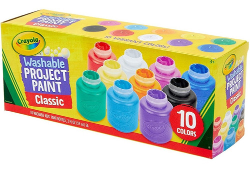 Pinturas Tempera Crayola Lavable Pack De 10 Colores Febo