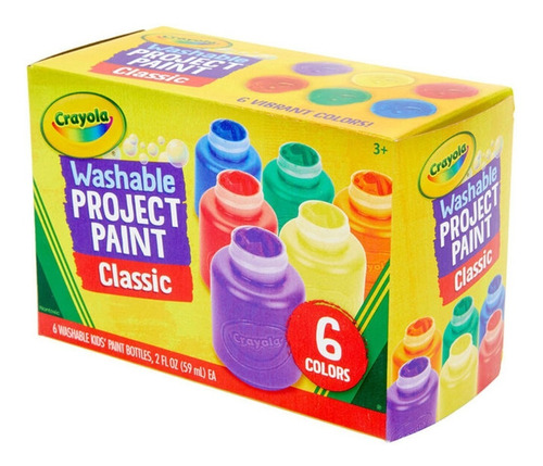 Pinturas Tempera Crayola Lavable Pack De 6 Colores Febo
