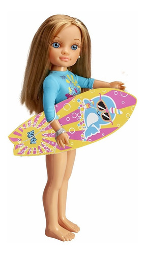 Muñeca Nancy Summer Famosa 43cm + Tabla De Surf Febo
