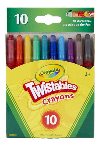 Mini Crayones X10 Twistables Crayola Colores Surtidos Febo